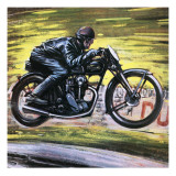 Racing a Velocette Giclee Print by Graham Coton