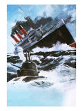 Liner and Submarine Giclee Print by Graham Coton