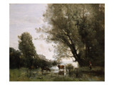 Banks of a Pond in Normandy Giclee Print by Jean-Baptiste-Camille Corot
