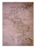 Map of the New World, C.1532 Reproduction procédé giclée
