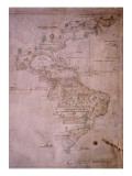 Mapa del Nuevo Mundo, C.1532 Lámina giclée