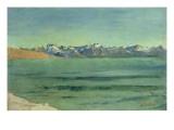 Sunrise over Mont Blanc, C.1890 Gicleetryck av Ferdinand Hodler