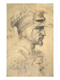 Ideal Head of a Warrior Premium Giclee Print by  Michelangelo Buonarroti