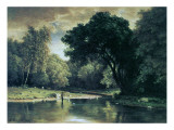 Fishing in a Stream, 1857 Giclee Print by George Inness