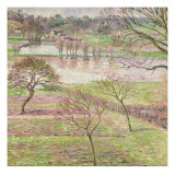 The Flood at Eragny, 1893 Giclee Print by Camille Pissarro
