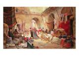 Carpet Bazaar, Cairo, 1887 Premium Giclee Print by Charles Robertson