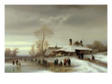 A Winter Landscape with Skaters Giclee Print by Anton Doll