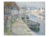 The Gravel Boats Giclee Print by Henri Eugene Augustin Le Sidaner