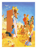 Punch and Judy Show on the Beach Premium Giclee Print by  English School