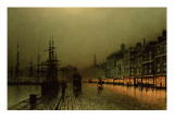 Greenock Dock by Moonlight Premium Giclee Print by  Grimshaw