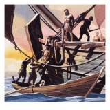 Pirates Taking a Prisoner Giclee Print by Ron Embleton