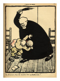 A Priest Beats a Boy Giclee Print by Félix Vallotton