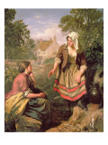 At the Spring or Gossip Reproduction proc&#233;d&#233; gicl&#233;e par John Faed