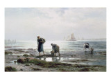 Oyster Gatherers, 1883 Giclee Print by  Moran