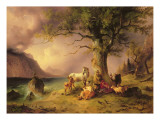 Sheltering from the Storm Giclee Print by Friedrich Gauermann