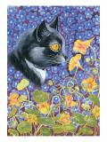 A Cat in a Sea of Flowers Gicléedruk van Louis Wain