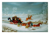 Mail Coach in the Snow Giclee Print by John Pollard