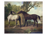 Two Horses in a Landscape Giclee Print by George Stubbs