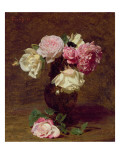 Pink and White Roses Giclee Print by Henri Fantin-Latour