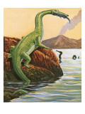 Nathosaurus Having a Meal Giclee Print by  English School