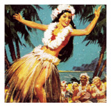 Hawaian Girl Dancing Giclee Print by  English School