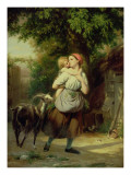 A Mother and Child with a Goat Giclee Print by Fritz Zuber-Buhler