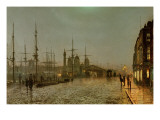 Hull Docks by Night Premium Giclee Print by  Grimshaw