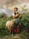 The Shepherdess, 1866 Giclée-tryk af Johann Baptist Hofner