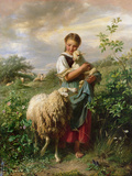 The Shepherdess, 1866 Premium Giclee Print by Johann Baptist Hofner