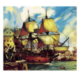 The Mayflower Leaves Plymouth Giclee Print by McConnell