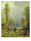 Sheep Watching a Storm Giclee Print by Constant-emile Troyon