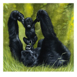 Gorilla Playing with Baby Giclee Print by David Nockels
