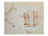 W.24R Architectural Sketch Giclee Print by  Michelangelo Buonarroti