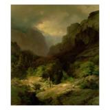 An Alpine Landscape in a Storm Giclee Print by Johann Gottfried Steffan