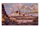Fishguard Harbour Scene Giclee Print by John S. Smith