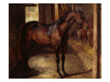 Dark Bay Horse in the Stable Giclee Print by Théodore Géricault