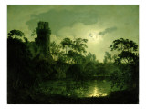 A Moonlit Lake by a Castle Giclee Print by Joseph Wright of Derby