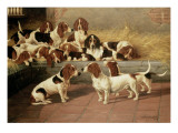 Basset Hounds in a Kennel, 1894 Giclee Print by Valentine Thomas Garland