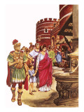 Shopping in Roman Britain Giclee Print by Peter Jackson