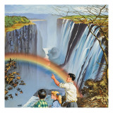 Rainbow over Waterfall Giclee Print by A. Gigli
