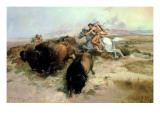 Buffalo Hunt, 1897 Giclee Print by Russell