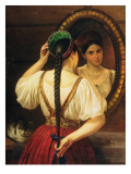 A Girl at the Mirror, 1848 Giclee Print by Filip Osipovich Budkin