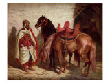 An Arab with Two Horses Giclee Print by Francois-hippolyte Lalaisse