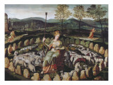 St. Genevieve Guarding Her Flock Giclee Print by Fontainebleau School 