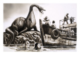 Attack by Pre-Historic Reptile Giclee Print by  English School