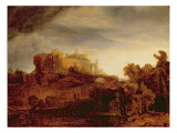 Landscape with a Chateau Gicledruk van Rembrandt van Rijn