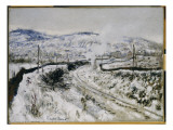 Train in the Snow at Argenteuil Giclee Print by Claude Monet