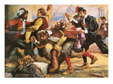 Caravaggio in a Brawl Giclee Print by Alberto Salinas