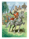 A Knight Outside a Castle Giclee Print by Peter Jackson