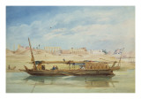 Kanga on the Nile at Luxor Reproduction procédé giclée par Emile Prisse d'Avennes